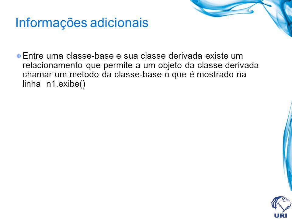 Informações adicionais Entre uma classe-base e sua classe derivada existe um relacionamento que permite a um objeto da classe derivada chamar um metod