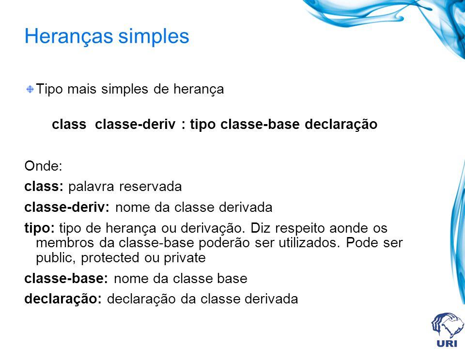 Heranças simples Tipo mais simples de herança class classe-deriv : tipo classe-base declaração Onde: class: palavra reservada classe-deriv: nome da cl