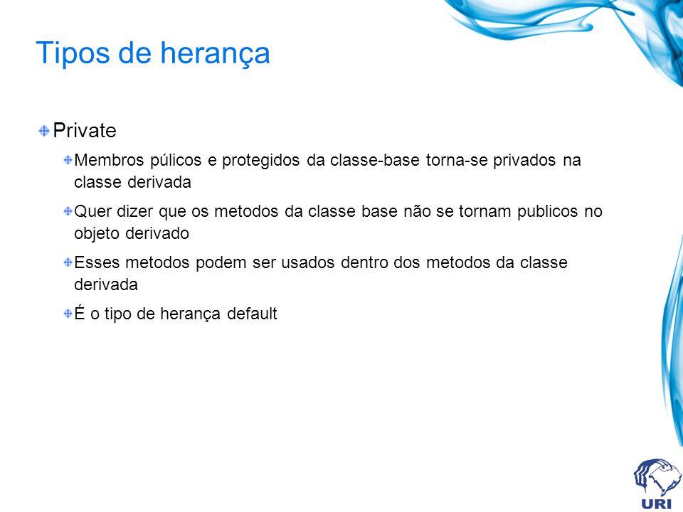 Tipos de herança Private Membros púlicos e protegidos da classe-base torna-se privados na classe derivada Quer dizer que os metodos da classe base não