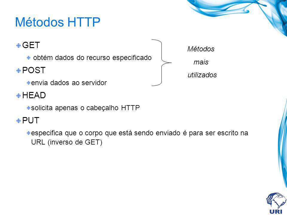 Métodos HTTP GET obtém dados do recurso especificado POST envia dados ao servidor HEAD solicita apenas o cabeçalho HTTP PUT especifica que o corpo que está sendo enviado é para ser escrito na URL (inverso de GET) Métodos mais utilizados