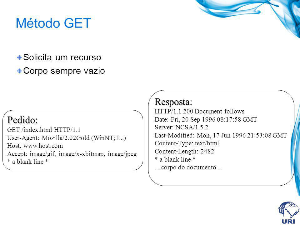 Método GET Solicita um recurso Corpo sempre vazio Pedido: GET /index.html HTTP/1.1 User-Agent: Mozilla/2.02Gold (WinNT; I...) Host: www.host.com Accept: image/gif, image/x-xbitmap, image/jpeg * a blank line * Resposta: HTTP/1.1 200 Document follows Date: Fri, 20 Sep 1996 08:17:58 GMT Server: NCSA/1.5.2 Last-Modified: Mon, 17 Jun 1996 21:53:08 GMT Content-Type: text/html Content-Length: 2482 * a blank line *...