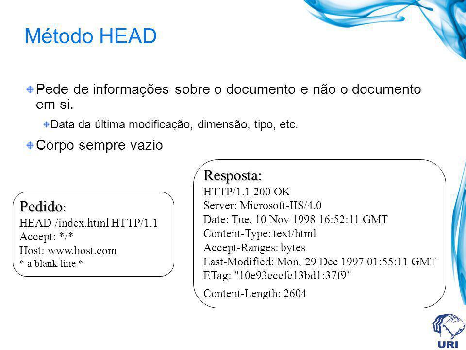 Método HEAD Pede de informações sobre o documento e não o documento em si.