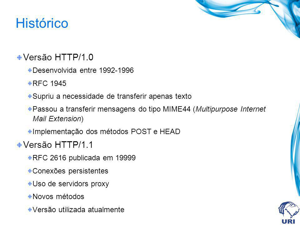 Histórico Versão HTTP/1.0 Desenvolvida entre 1992-1996 RFC 1945 Supriu a necessidade de transferir apenas texto Passou a transferir mensagens do tipo MIME44 (Multipurpose Internet Mail Extension) Implementação dos métodos POST e HEAD Versão HTTP/1.1 RFC 2616 publicada em 19999 Conexões persistentes Uso de servidors proxy Novos métodos Versão utilizada atualmente