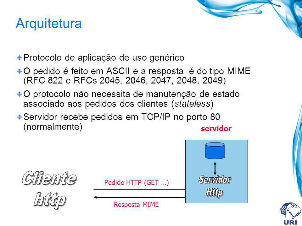 Arquitetura Protocolo de aplicação de uso genérico O pedido é feito em ASCII e a resposta é do tipo MIME (RFC 822 e RFCs 2045, 2046, 2047, 2048, 2049) O protocolo não necessita de manutenção de estado associado aos pedidos dos clientes (stateless) Servidor recebe pedidos em TCP/IP no porto 80 (normalmente) Pedido HTTP (GET …) Resposta MIME servidor