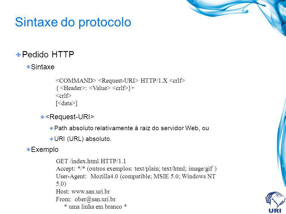 Sintaxe do protocolo Pedido HTTP Sintaxe Path absoluto relativamente à raiz do servidor Web, ou URI (URL) absoluto. Exemplo HTTP/1.X { : }+ [ ] GET /i
