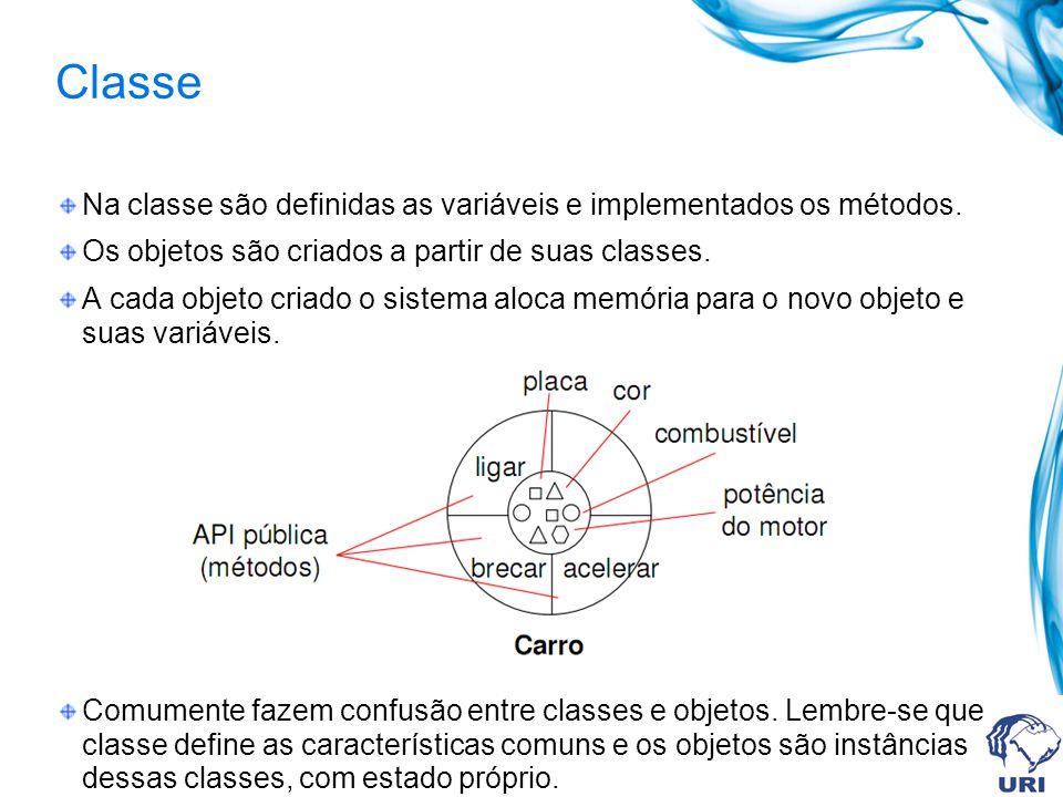 Na classe são definidas as variáveis e implementados os métodos. Os objetos são criados a partir de suas classes. A cada objeto criado o sistema aloca