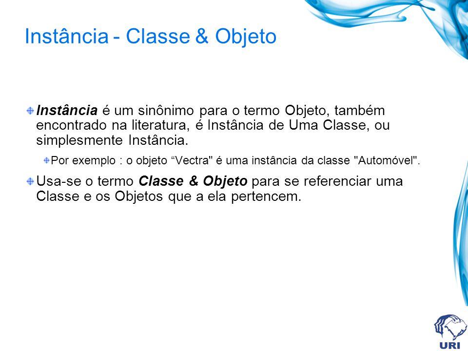 Instância - Classe & Objeto Instância é um sinônimo para o termo Objeto, também encontrado na literatura, é Instância de Uma Classe, ou simplesmente I