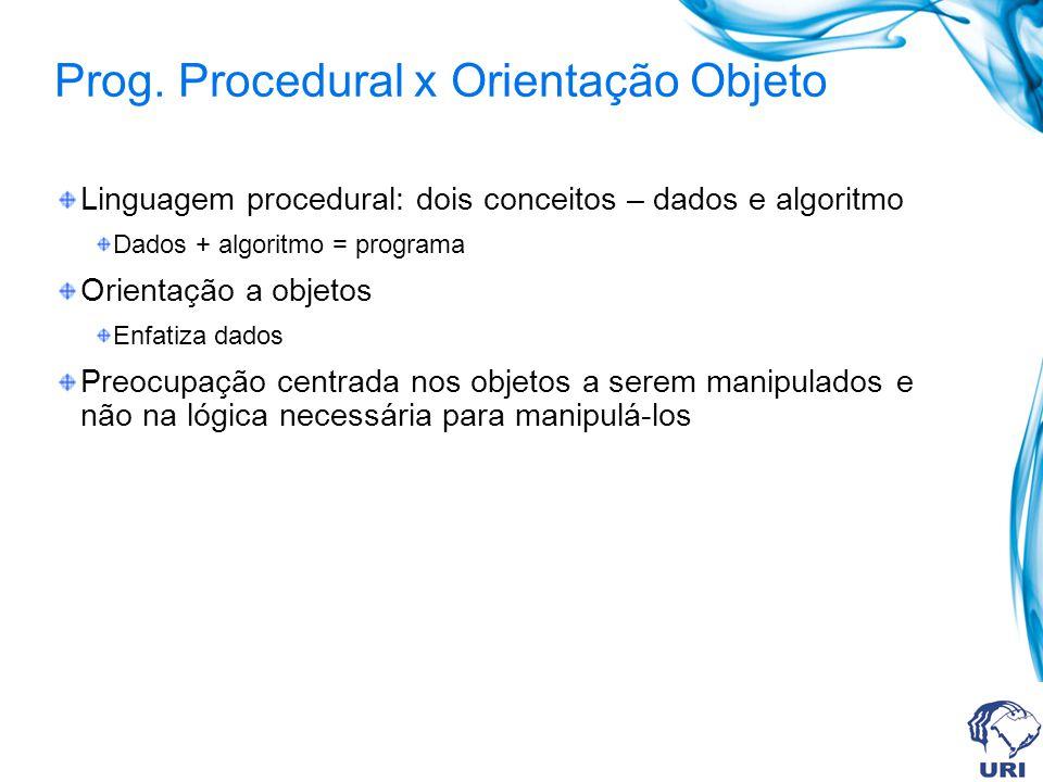 Prog. Procedural x Orientação Objeto Linguagem procedural: dois conceitos – dados e algoritmo Dados + algoritmo = programa Orientação a objetos Enfati