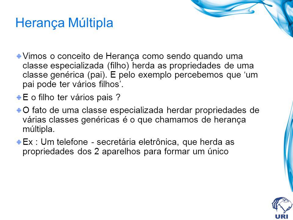 Herança Múltipla Vimos o conceito de Herança como sendo quando uma classe especializada (filho) herda as propriedades de uma classe genérica (pai). E
