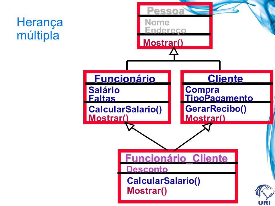 Herança múltiplaPessoa Nome Endereço Mostrar() Cliente Compra TipoPagamento Mostrar() GerarRecibo() Funcionário Salário Faltas Mostrar() CalcularSalar