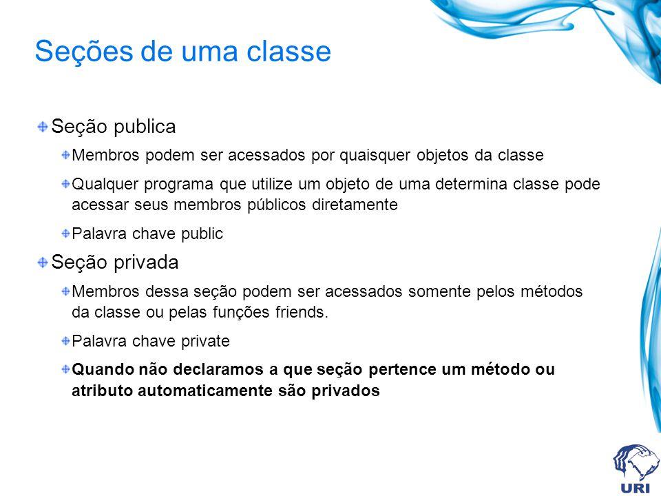 Seções de uma classe Seção publica Membros podem ser acessados por quaisquer objetos da classe Qualquer programa que utilize um objeto de uma determin