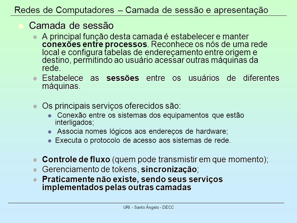 Redes de Computadores – Camada de sessão e apresentação URI - Santo Ângelo - DECC Camada de sessão Camada de sessão A principal função desta camada é