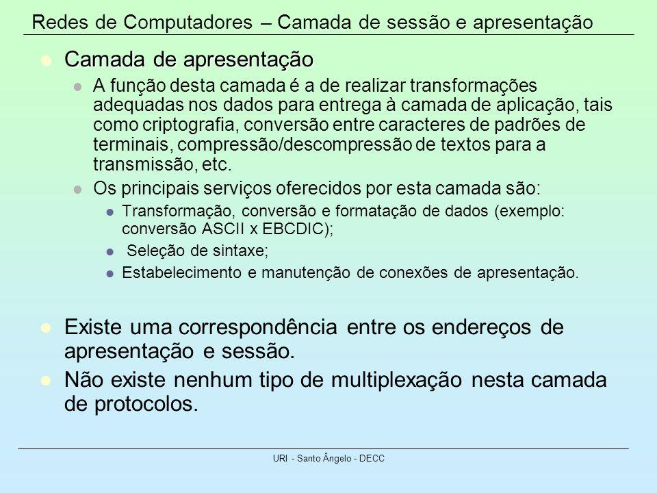 Redes de Computadores – Camada de sessão e apresentação URI - Santo Ângelo - DECC Camada de apresentação Camada de apresentação A função desta camada