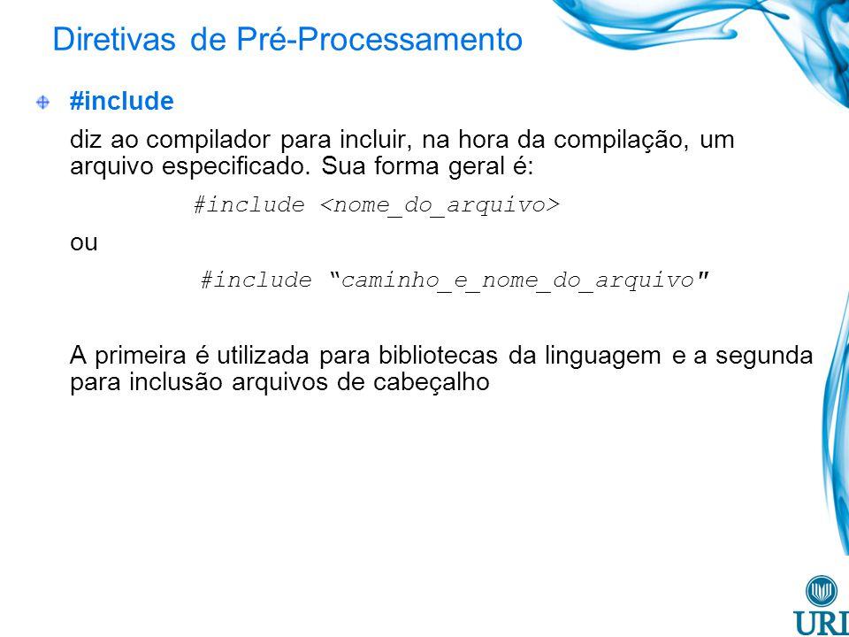 Diretivas de Pré-Processamento #include diz ao compilador para incluir, na hora da compilação, um arquivo especificado.