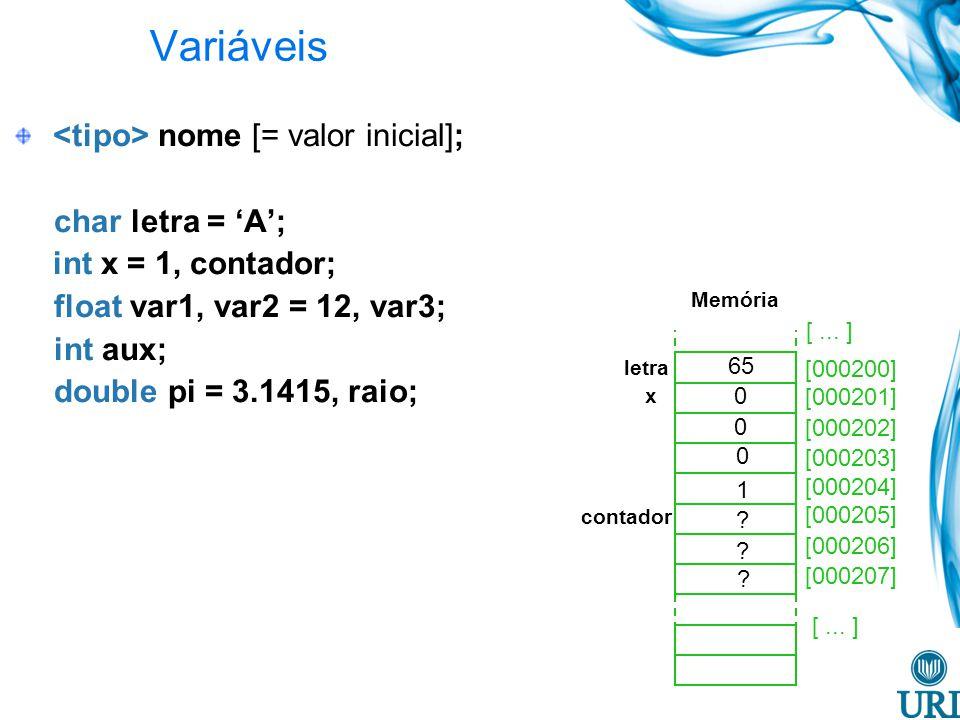 Variáveis nome [= valor inicial]; char letra = A; int x = 1, contador; float var1, var2 = 12, var3; int aux; double pi = 3.1415, raio; [000200] [000201] [000202] [000203] [000204] [000205] [000206] [000207] 65 letra x 0 0 0 1 contador .