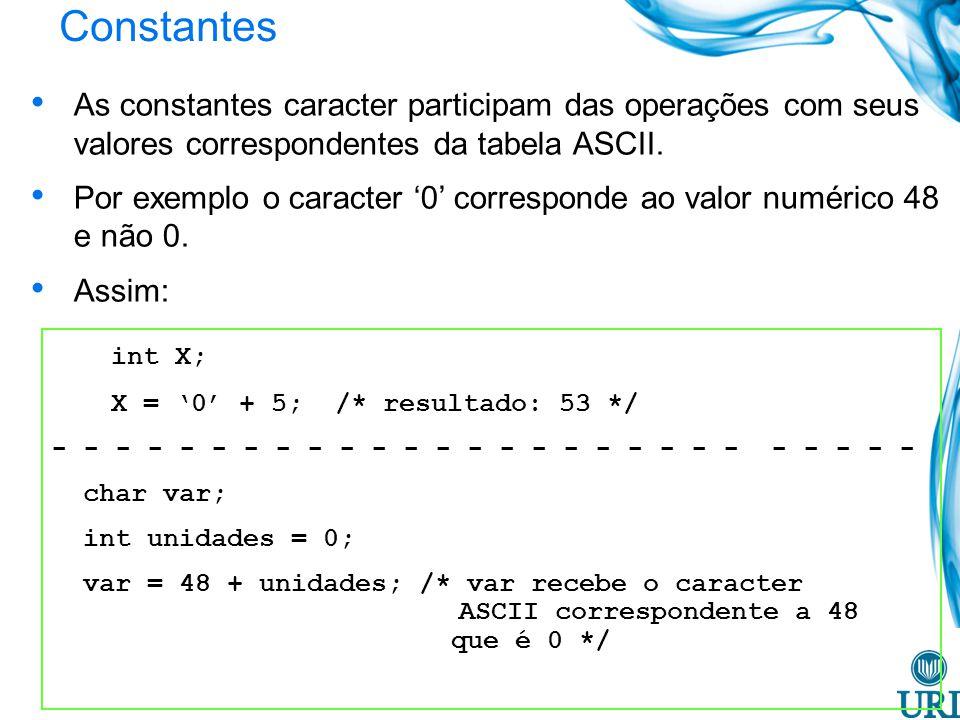 Constantes As constantes caracter participam das operações com seus valores correspondentes da tabela ASCII. Por exemplo o caracter 0 corresponde ao v