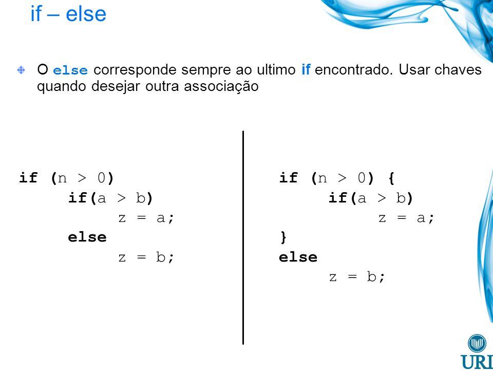 if – else O else corresponde sempre ao ultimo if encontrado. Usar chaves quando desejar outra associação if (n > 0) if(a > b) z = a; else z = b; if (n