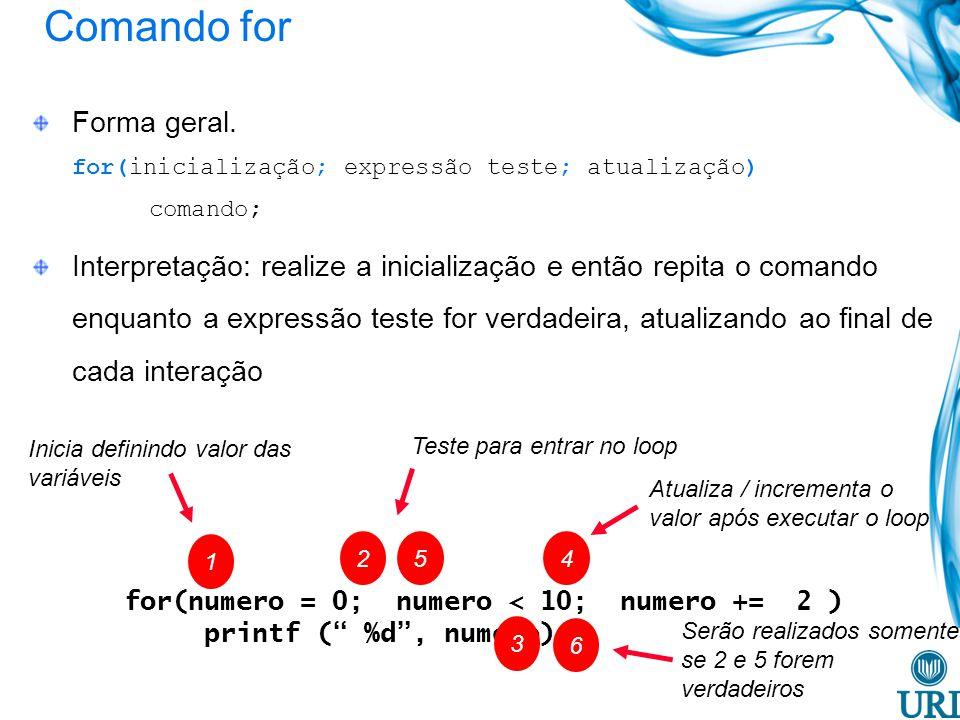 Comando for for(numero = 0; numero < 10; numero += 2 ) printf ( %d, numero); Forma geral. for(inicialização; expressão teste; atualização) comando; In