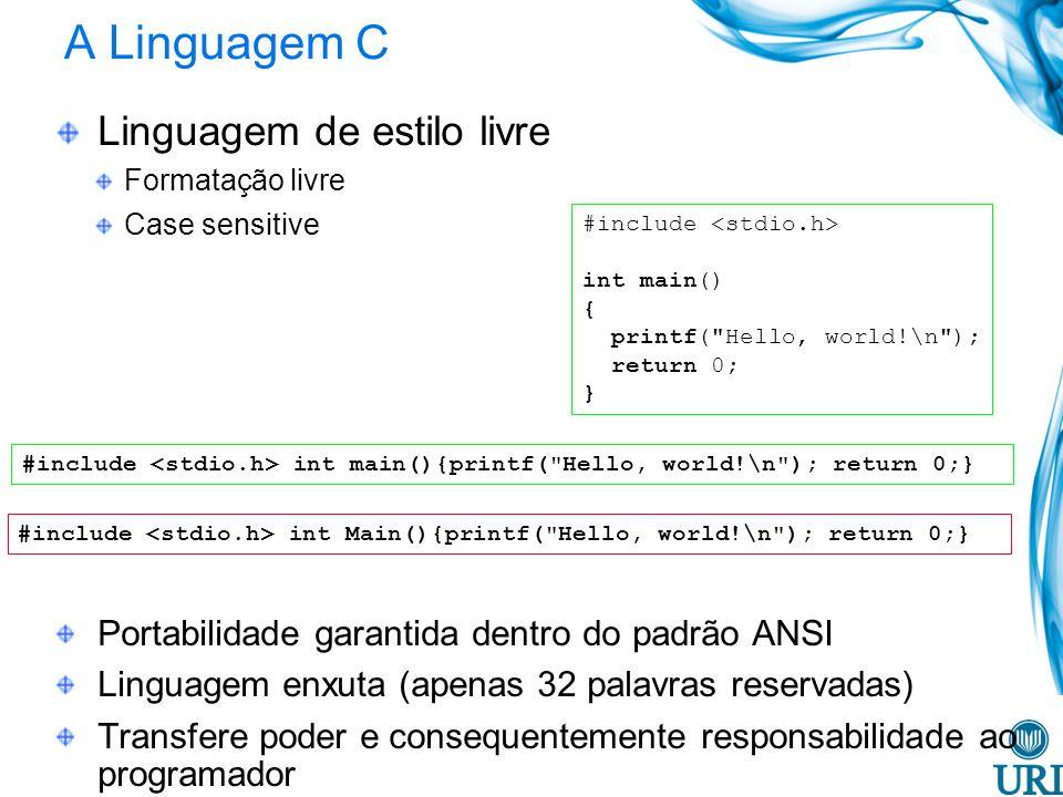 A Linguagem C Linguagem de estilo livre Formatação livre Case sensitive Portabilidade garantida dentro do padrão ANSI Linguagem enxuta (apenas 32 palavras reservadas) Transfere poder e consequentemente responsabilidade ao programador #include int main() { printf( Hello, world!\n ); return 0; } #include int Main(){printf( Hello, world!\n ); return 0;} #include int main(){printf( Hello, world!\n ); return 0;}