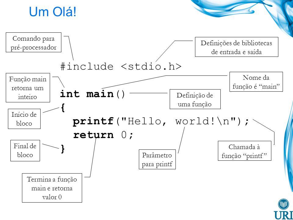 Um Olá! #include int main() { printf(