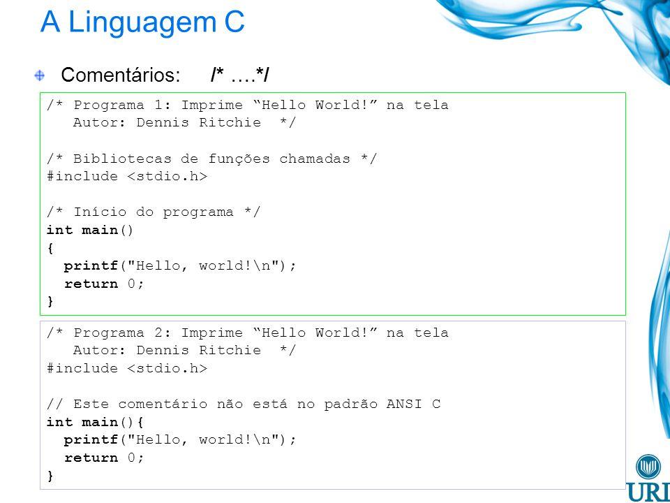 A Linguagem C Comentários: /* ….*/ /* Programa 1: Imprime Hello World! na tela Autor: Dennis Ritchie */ /* Bibliotecas de funções chamadas */ #include