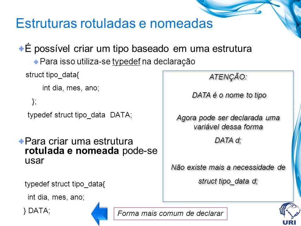 Estruturas rotuladas e nomeadas É possível criar um tipo baseado em uma estrutura Para isso utiliza-se typedef na declaração struct tipo_data{ int dia, mes, ano; }; typedef struct tipo_data DATA; Para criar uma estrutura rotulada e nomeada pode-se usar typedef struct tipo_data{ int dia, mes, ano; } DATA; ATENÇÃO: DATA é o nome to tipo Agora pode ser declarada uma variável dessa forma DATA d; Não existe mais a necessidade de struct tipo_data d; ATENÇÃO: DATA é o nome to tipo Agora pode ser declarada uma variável dessa forma DATA d; Não existe mais a necessidade de struct tipo_data d; Forma mais comum de declarar