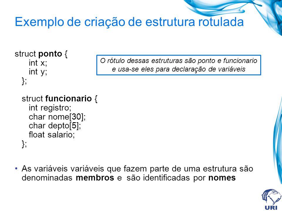 Exemplo de criação de estrutura rotulada struct ponto { int x; int y; }; struct funcionario { int registro; char nome[30]; char depto[5]; float salario; }; As variáveis variáveis que fazem parte de uma estrutura são denominadas membros e são identificadas por nomes O rótulo dessas estruturas são ponto e funcionario e usa-se eles para declaração de variáveis