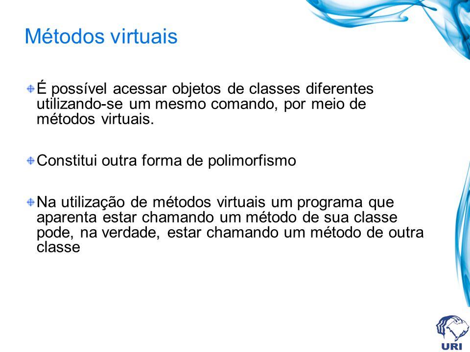 É possível acessar objetos de classes diferentes utilizando-se um mesmo comando, por meio de métodos virtuais. Constitui outra forma de polimorfismo N