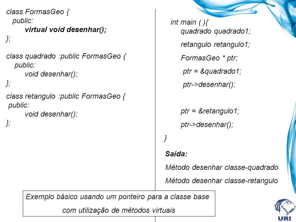 Métodos virtuais e classes abstratas São classes que não podem ter objetos instanciados Uma classe é dita abstrata quando possui pelo menos um método abstrato (virtual puro) Uma vez declarado um método virtual puro em uma classe-base, este deverá ser redefinido nas classes derivadas em que se deseja criar um objeto.