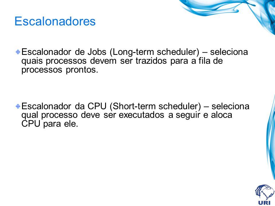Escalonador de Jobs (Long-term scheduler) – seleciona quais processos devem ser trazidos para a fila de processos prontos. Escalonador da CPU (Short-t
