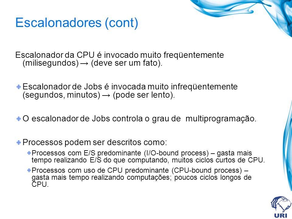 Escalonador da CPU é invocado muito freqüentemente (milisegundos) (deve ser um fato). Escalonador de Jobs é invocada muito infreqüentemente (segundos,
