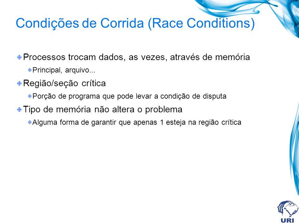 Condições de Corrida (Race Conditions) Processos trocam dados, as vezes, através de memória Principal, arquivo... Região/seção crítica Porção de progr