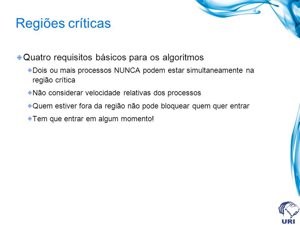 Regiões críticas Quatro requisitos básicos para os algoritmos Dois ou mais processos NUNCA podem estar simultaneamente na região crítica Não considera