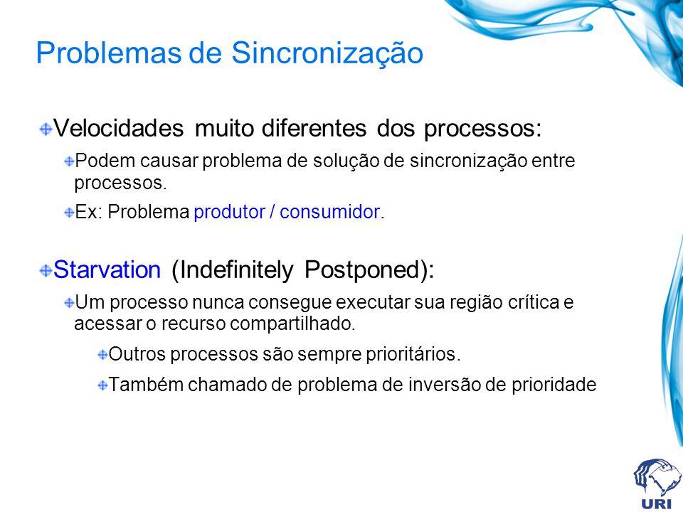 Problemas de Sincronização Velocidades muito diferentes dos processos: Podem causar problema de solução de sincronização entre processos. Ex: Problema
