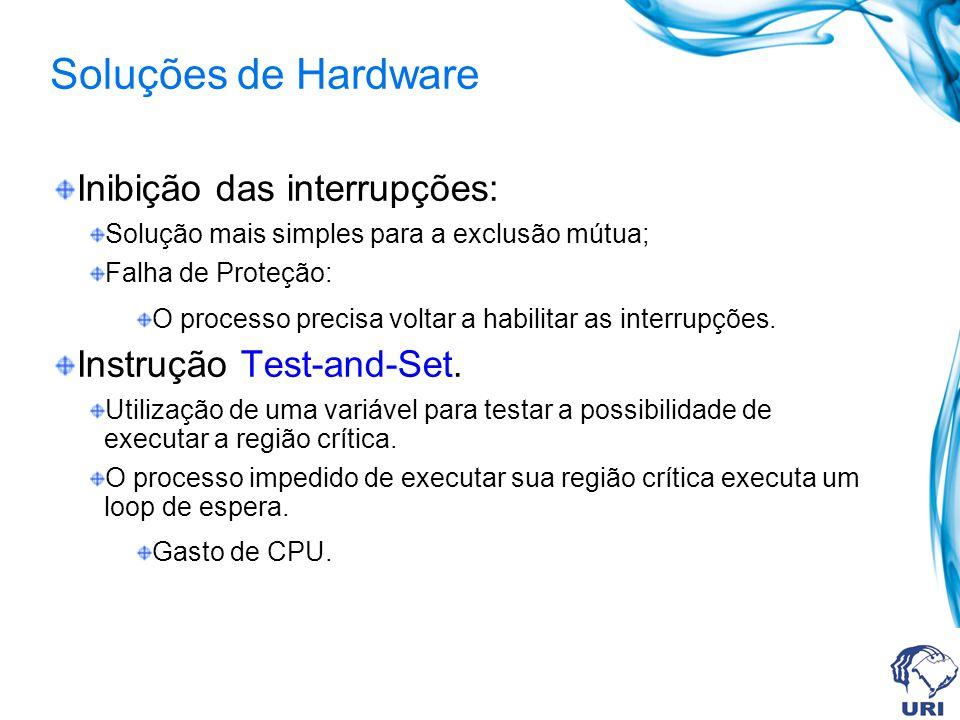 Soluções de Hardware Inibição das interrupções: Solução mais simples para a exclusão mútua; Falha de Proteção: O processo precisa voltar a habilitar a