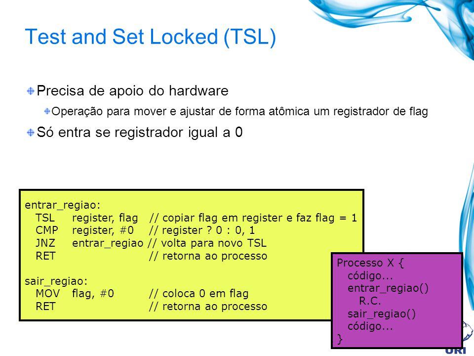Test and Set Locked (TSL) Precisa de apoio do hardware Operação para mover e ajustar de forma atômica um registrador de flag Só entra se registrador i
