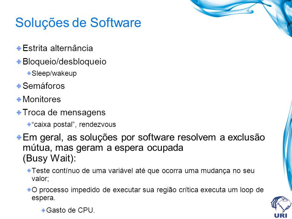 Soluções de Software Estrita alternância Bloqueio/desbloqueio Sleep/wakeup Semáforos Monitores Troca de mensagens caixa postal, rendezvous Em geral, a