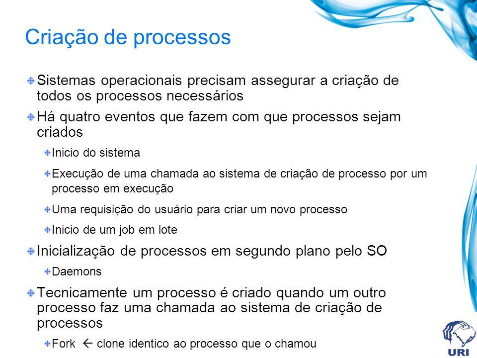 Criação de processos Sistemas operacionais precisam assegurar a criação de todos os processos necessários Há quatro eventos que fazem com que processo