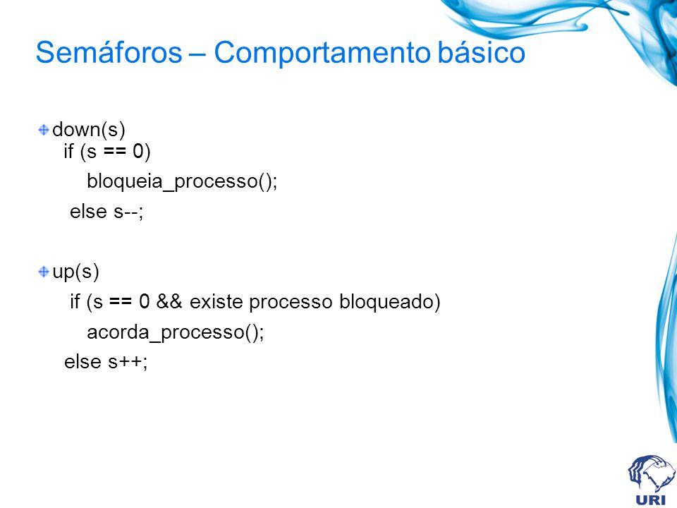 Semáforos – Comportamento básico down(s) if (s == 0) bloqueia_processo(); else s--; up(s) if (s == 0 && existe processo bloqueado) acorda_processo();