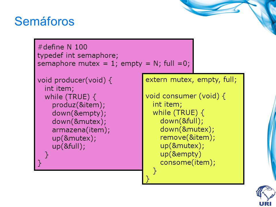 Semáforos #define N 100 typedef int semaphore; semaphore mutex = 1; empty = N; full =0; void producer(void) { int item; while (TRUE) { produz(&item); down(&empty); down(&mutex); armazena(item); up(&mutex); up(&full); } extern mutex, empty, full; void consumer (void) { int item; while (TRUE) { down(&full); down(&mutex); remove(&item); up(&mutex); up(&empty) consome(item); }