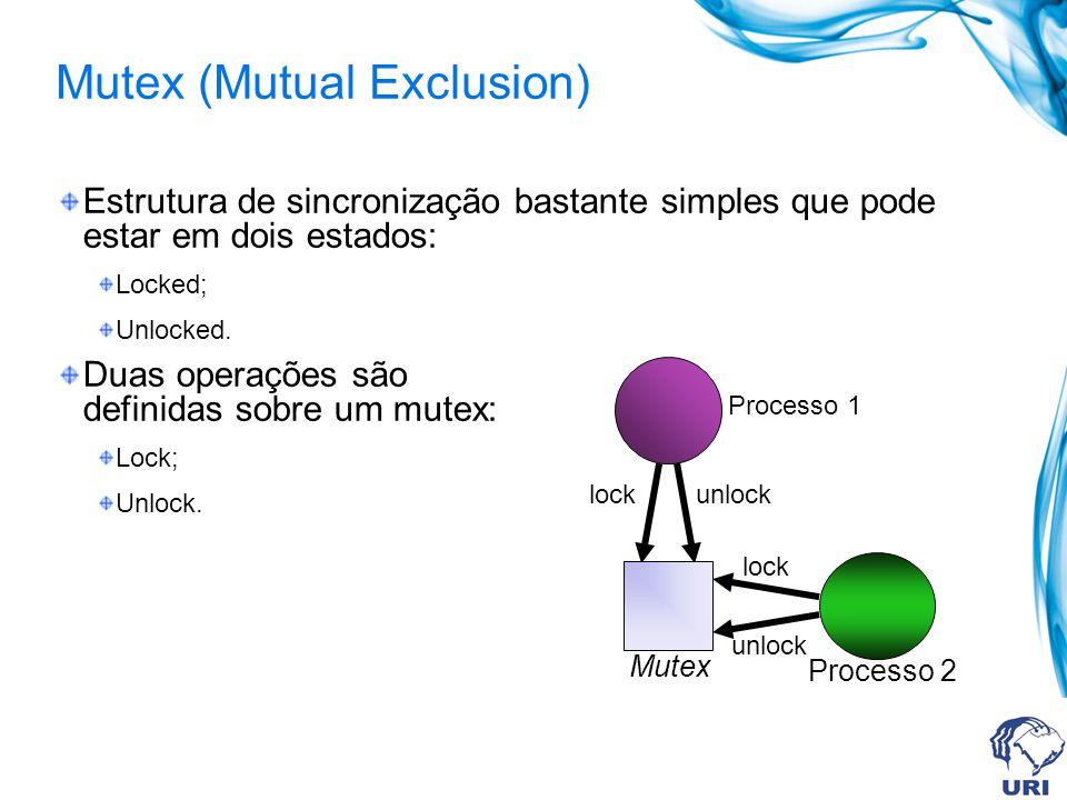 Mutex (Mutual Exclusion) Estrutura de sincronização bastante simples que pode estar em dois estados: Locked; Unlocked. Duas operações são definidas so