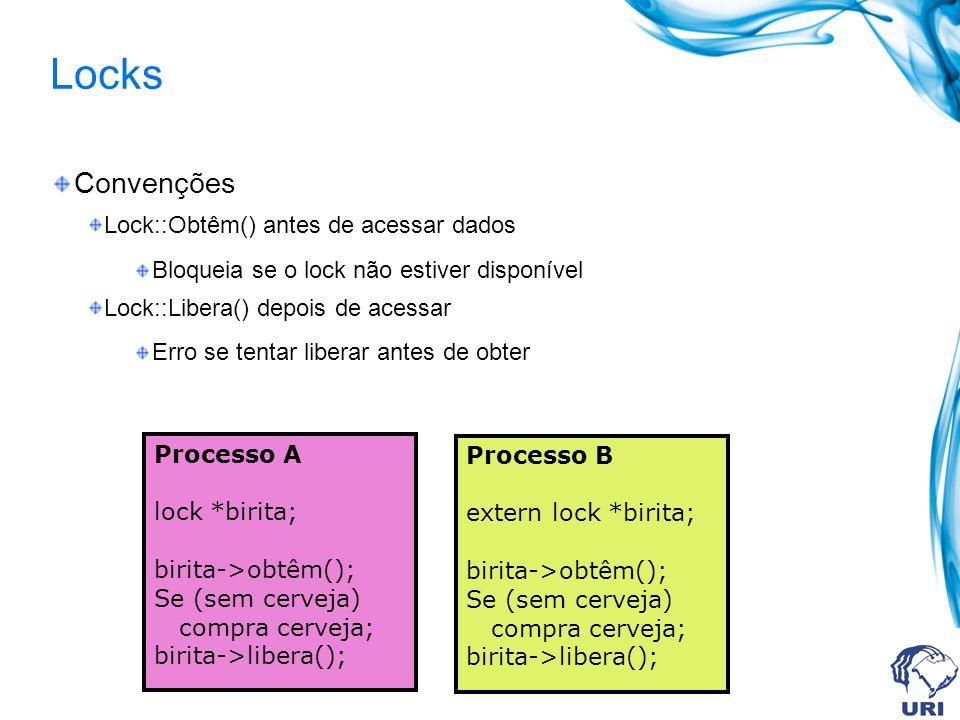 Locks Convenções Lock::Obtêm() antes de acessar dados Bloqueia se o lock não estiver disponível Lock::Libera() depois de acessar Erro se tentar libera