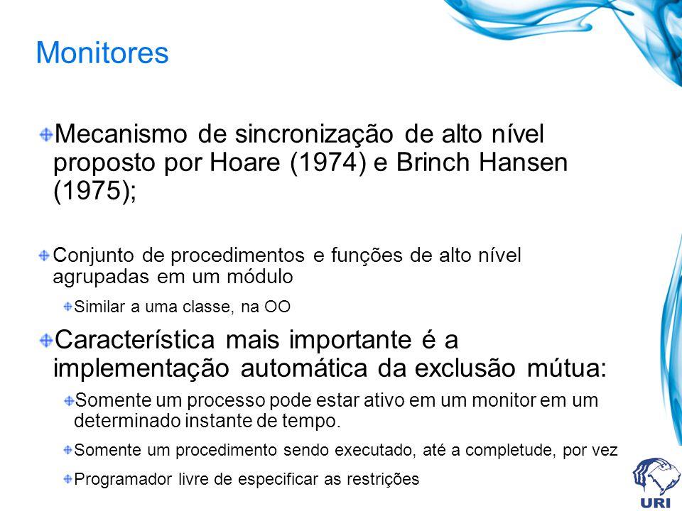 Monitores Mecanismo de sincronização de alto nível proposto por Hoare (1974) e Brinch Hansen (1975); Conjunto de procedimentos e funções de alto nível