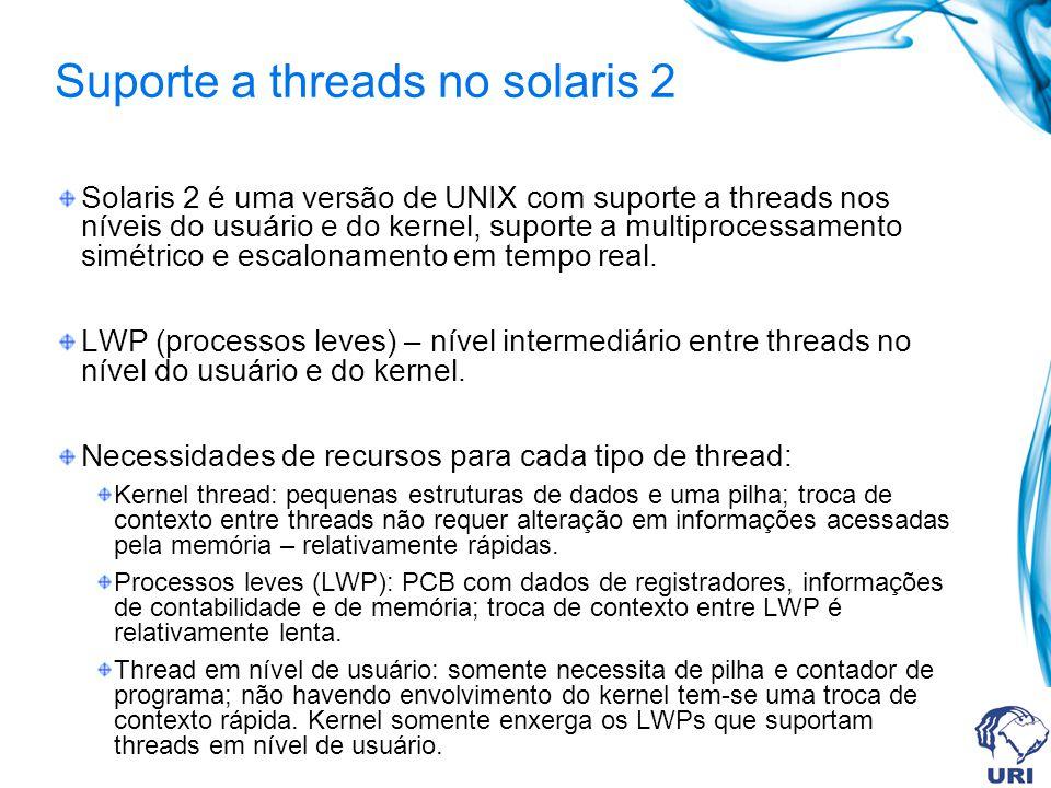 Solaris 2 é uma versão de UNIX com suporte a threads nos níveis do usuário e do kernel, suporte a multiprocessamento simétrico e escalonamento em temp
