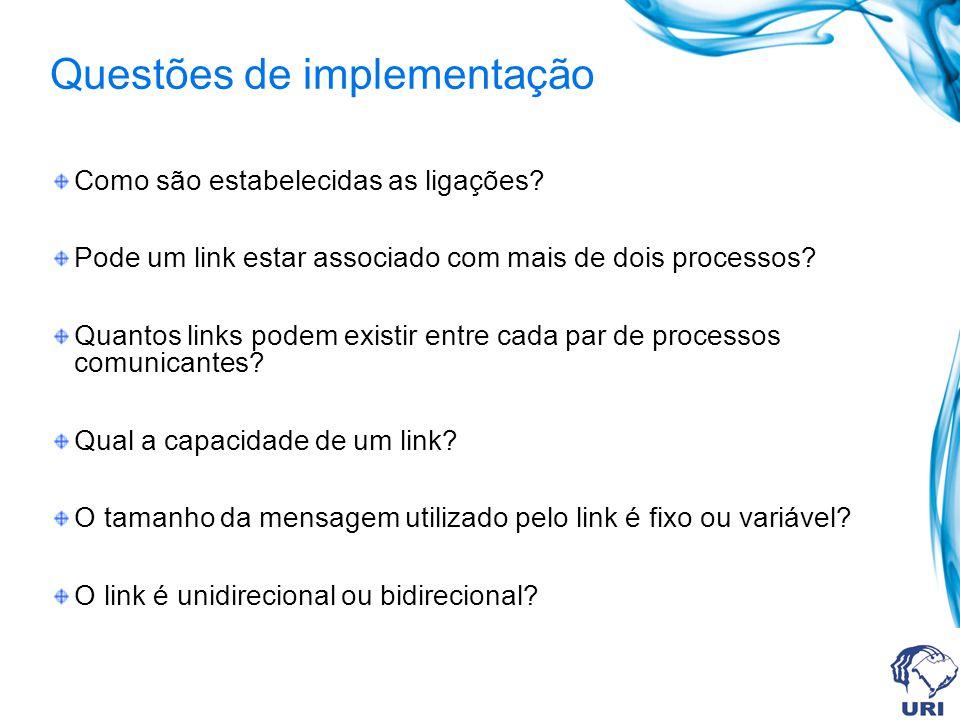 Como são estabelecidas as ligações? Pode um link estar associado com mais de dois processos? Quantos links podem existir entre cada par de processos c