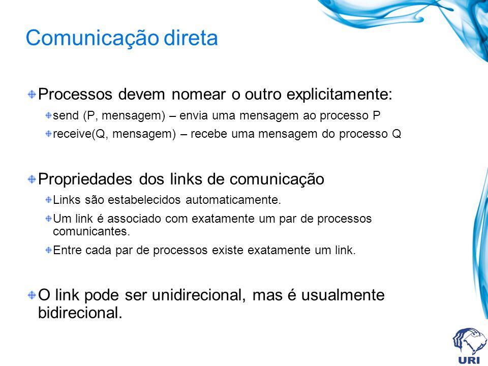 Processos devem nomear o outro explicitamente: send (P, mensagem) – envia uma mensagem ao processo P receive(Q, mensagem) – recebe uma mensagem do pro