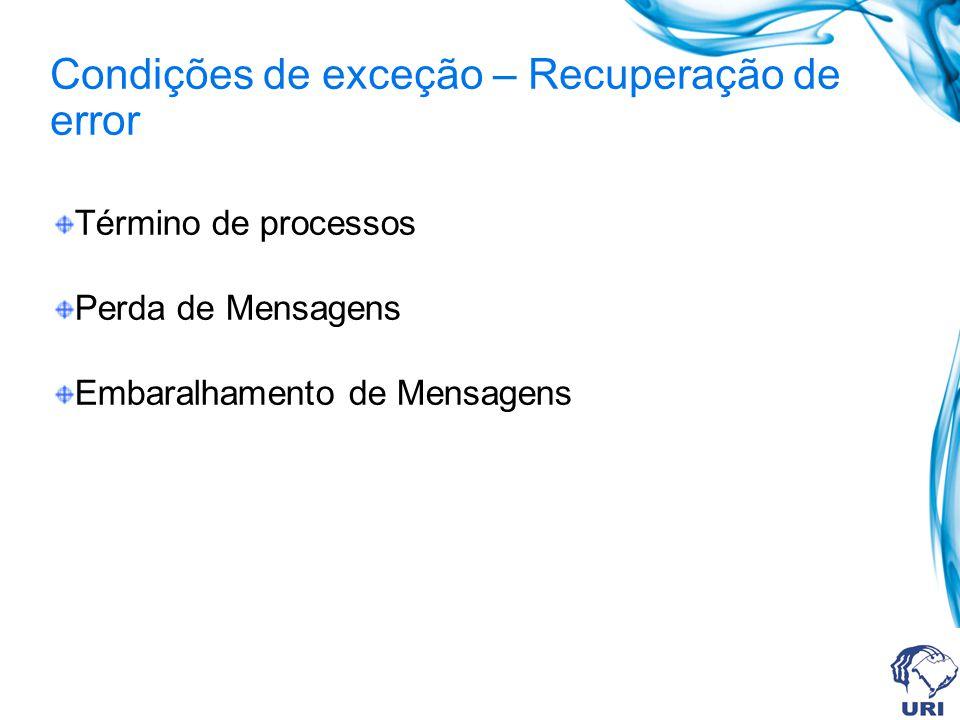 Término de processos Perda de Mensagens Embaralhamento de Mensagens Condições de exceção – Recuperação de error