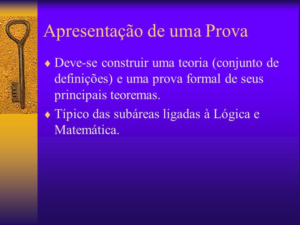 Apresentação de uma Prova Deve-se construir uma teoria (conjunto de definições) e uma prova formal de seus principais teoremas. Típico das subáreas li