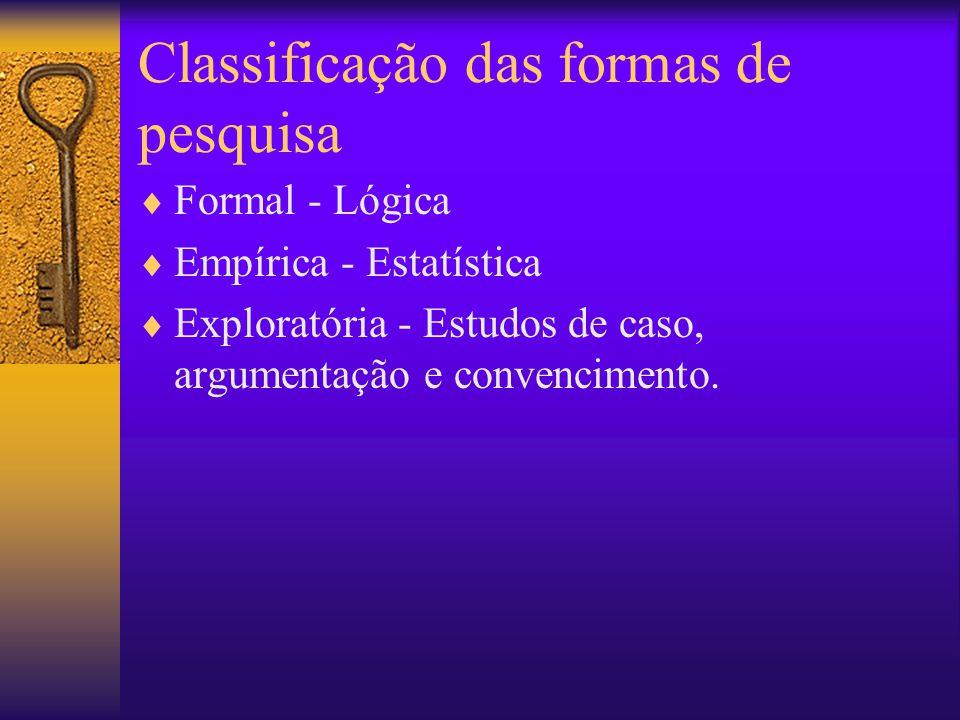 Classificação das formas de pesquisa Formal - Lógica Empírica - Estatística Exploratória - Estudos de caso, argumentação e convencimento.