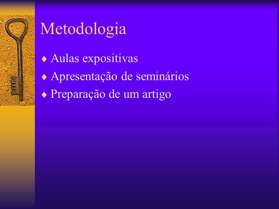 Metodologia Aulas expositivas Apresentação de seminários Preparação de um artigo
